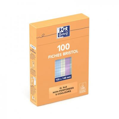 Oxford A6 - Boxed - Unpunched - 5mm Squares - 100 Cards - Assorted