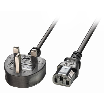 Lindy 1m UK 3 Pin Plug to IEC C13 Mains Power Cable, Black Electriciteitssnoer - Zwart