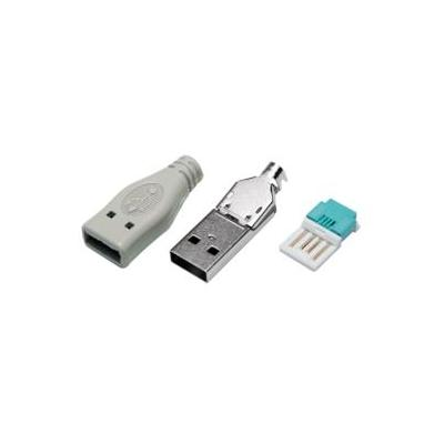 LogiLink USB-A PLUG TOOLLESS TYPE, SET WITH 3 PARTS INCL. BOOT GREY Kabel connector