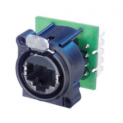 Neutrik kabel connector: RJ45 feedthrough receptacle, D-Shape, Cat5e - Zwart, Groen, Zilver