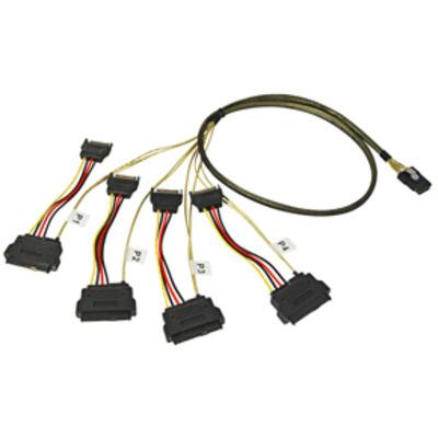 Lindy Mini SAS -> 4 x SAS & SATA Power Cable, 1m Electriciteitssnoer
