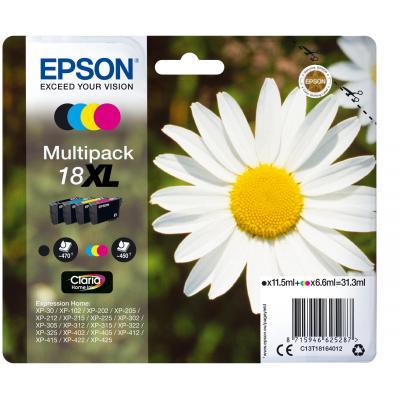 Epson inktcartridge: 18XL inktcartridge zwart en drie kleuren high capacity 31.3ml 1-pack blister zonder alarm - Zwart, .....