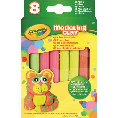 Crayola kinder modellering verbruiksartikel: Boetseerklei - 8 sticks Fluo Kleuren - Multi kleuren