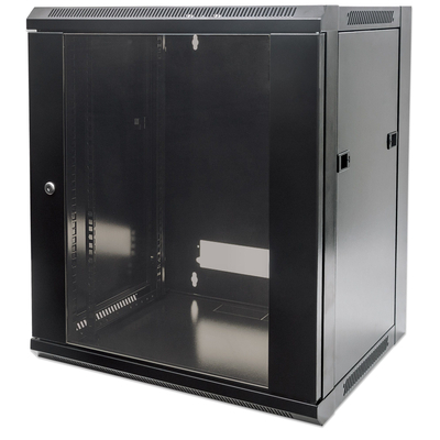 "Intellinet 19"" Wallmount Cabinet, 12U, 635 (h) x 570 (w) x 450 (d) mm, Max 60kg, Flatpack, Black Rack - Zwart"