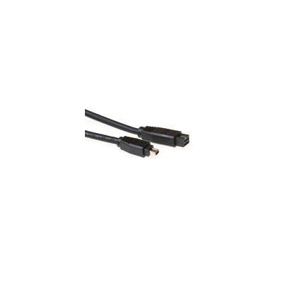 Intronics fireware kabel: Firewire IEEE1394B aansluitkabel 9-pin male - 4-pin male - Zwart