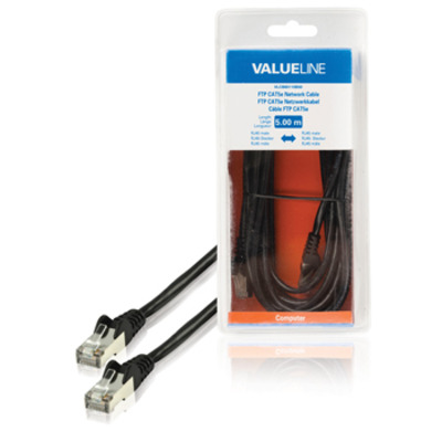 Valueline FTP CAT5e RJ45 mannelijk - RJ45 mannelijk 5.00 m zwart Netwerkkabel
