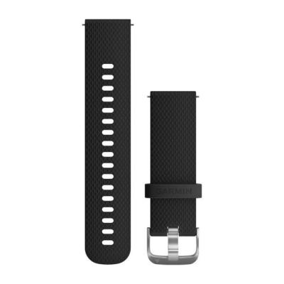 Garmin horloge-band: Quick Release Black Silicone Band with Stainless Hardware, 20mm - Zwart