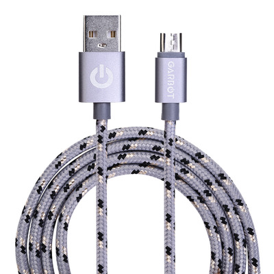 Garbot Grab&Go 1m Braided Micro-USB Cable, Silver USB kabel - Zilver