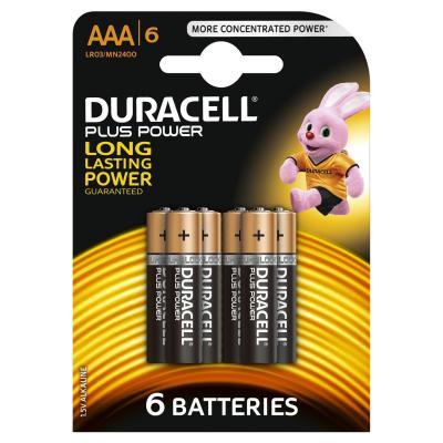 Duracell batterij: Batterijen Plus Power, Alkaline, 6 x AAA - Zwart, Goud