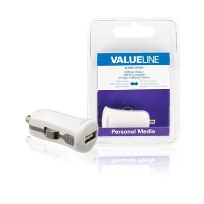 Valueline USB-autolader, USB A female - 12V-autoaansluiting, wit Oplader