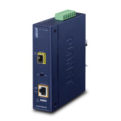 PLANET 1000BASE-SX /LX to 10/100/1000BASE-T 802.3at PoE+ Industrial (mini-GBIC, SFP) Media converter - Zwart
