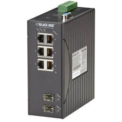 Black Box Managed, 6xRJ-45, 2xSFP, IP30, 60x125x145mm, 1.1kg, Aluminium, Black Switch - Zwart