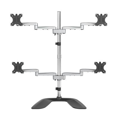 StarTech.com voor vier schermen scharnierend staal & aluminium Monitorarm - Zwart,Zilver