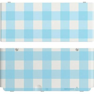 Nintendo portable game console case: New 3DS Cover Plate, Blue/White Checked - Blauw, Wit