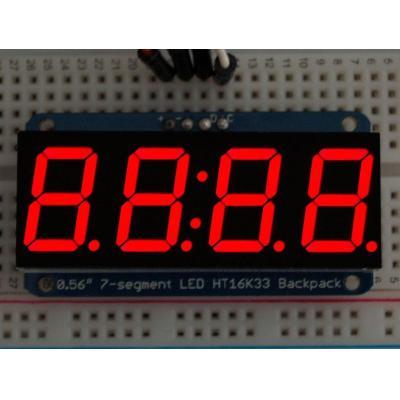 "Adafruit : 1.4224 cm (0.56 "") 4-digit 7-segment LED, 4-pin, I2C 7-bit, red"