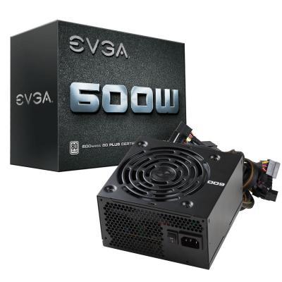 Evga power supply unit: 600W, 24 Pin ATX, EPS, SATA x 6, Peripheral x 3, Floppy - Zwart