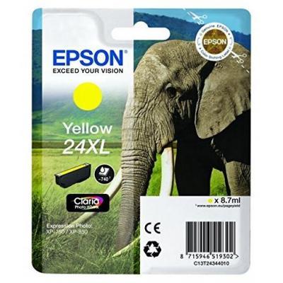 Epson inktcartridge: 24XL inktcartridge geel high capacity 8.7ml 740 paginas 1-pack blister zonder alarm