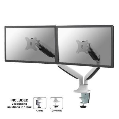 """Newstar monitorarm: De NM-D750DWHITE is een gasgeveerde bureausteun voor twee flat screens t/m 81.28 cm (32"""") (82 cm)."""