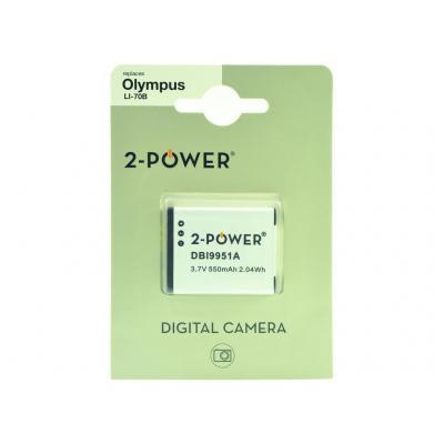 2-power batterij: Digital Camera Battery, Li-Ion, 3.6V, 650mAh, White - Wit