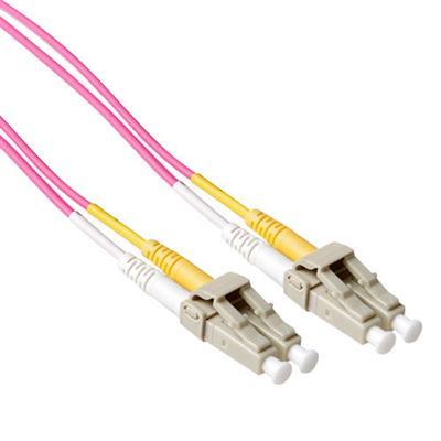 Ewent 10 meter LSZH Multimode 50/125 OM4 glasvezel patchkabel duplex met LC connectoren Fiber optic kabel - Violet