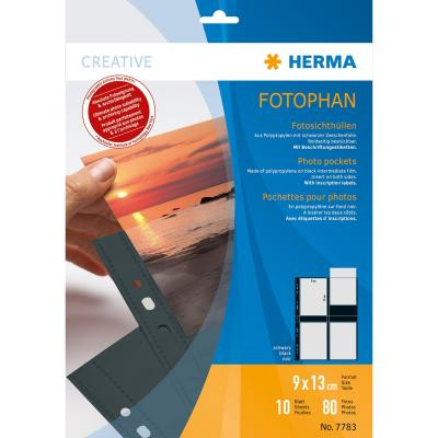 Herma showtas: Fotophan transparent photo pockets 9x13 cm portrait black 10 pcs. - Zwart, Transparant