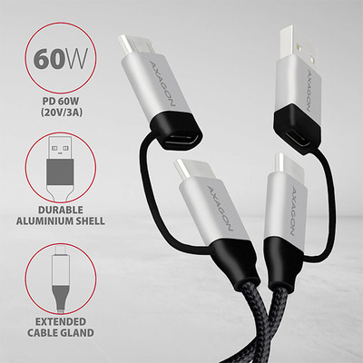 Axagon 4in1 USB-C+microUSB / USB-C+USB-A cable, 2m USB kabel - Zwart,Zilver