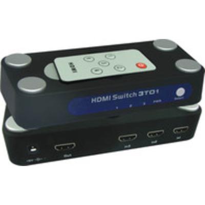 Microconnect video switch: HDMI 1.3/ 3 x HDMI 1.3a, 1080p, DV5V 1A, 12bit - Zwart, Zilver