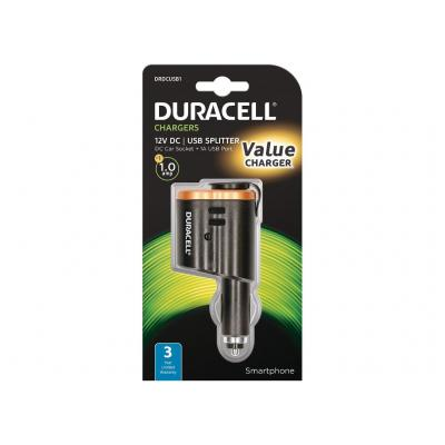 Duracell 12V In-Car Multiplier + 1A USB Oplader - Zwart