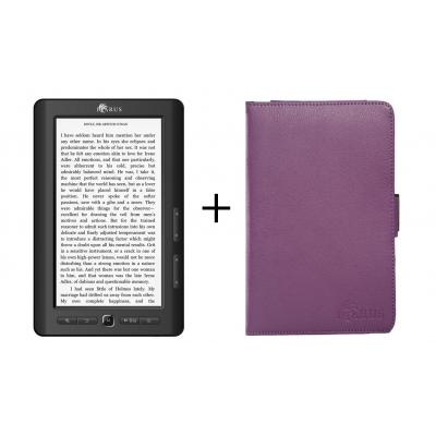 "Icarus e-book reader: Bundel van de Omnia M703BK 7"" e-reader en de lila beschermhoes C027LA - Zwart"