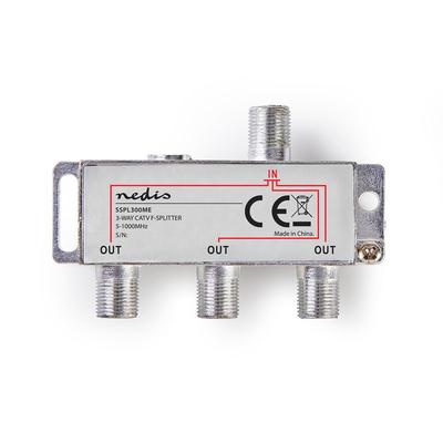 Nedis SSPL300ME Kabel splitter of combiner - Zilver