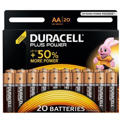 Duracell batterij: Plus Power alkaline AA-batterijen, verpakking van 20 - Zwart, Goud