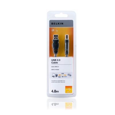 Belkin USB kabel: USB cable - 4 PIN USB Type A (M) - 4 PIN USB Type B (M), 4.8 m. - Zwart