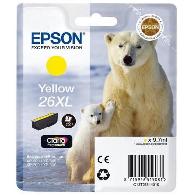 Epson inktcartridge: 26XL inktcartridge geel high capacity 9.7ml 700 paginas 1-pack blister zonder alarm