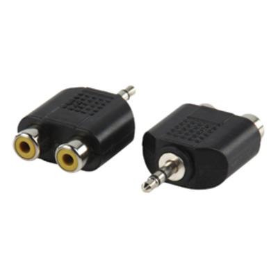 Valueline Jack Stereo Male 3.5mm, 2x RCA Female, Plastic Kabel adapter - Zwart