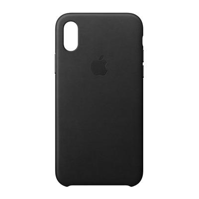Apple mobile phone case: Leren hoesje voor iPhone X - Zwart