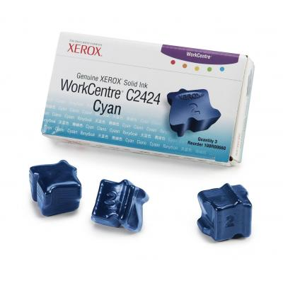 Xerox inkt stick: Originele WorkCentre C2424 Solid Ink cyaan (3 blokjes)