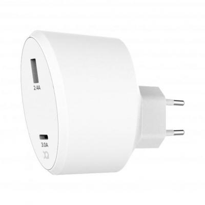 Xqisit Travel Charger 5.4A Dual USB + USB C EU (white) Oplader - Wit