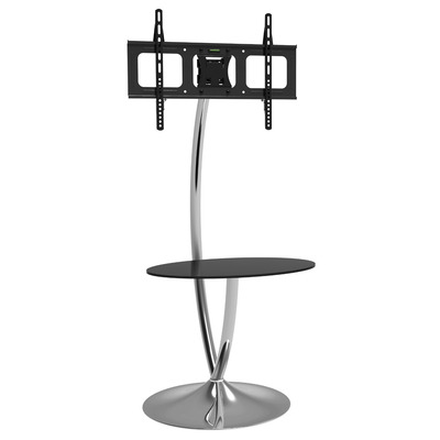 """Techly Floor Support with Round Base and Shelf for LCD/LED TV 32-70"""" Montagehaak - Zwart,Zilver"""