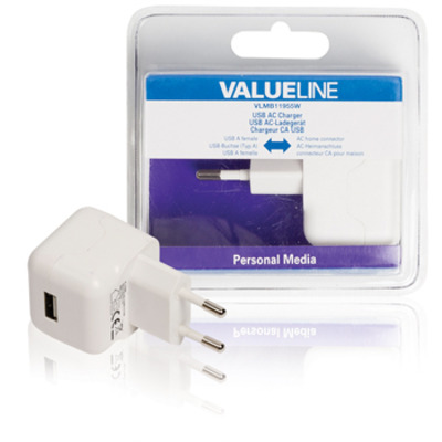 Valueline USB-lader, USB A female - AC-huisaansluiting, wit Oplader