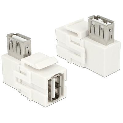 DeLOCK Keystone Module USB 2.0 A female > USB 2.0 A female, 90° angled, white - Wit
