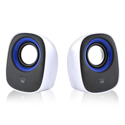 Ewent Speaker: 2.0, 5W RMS, 100Hz-20kHz - Zwart, Blauw, Wit