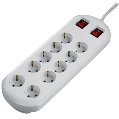 Hama 10-Way Power Strip, 2 switches, white, 2 m stekkerdoos