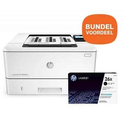 Hp laserprinter: LaserJet laserprinter: LaserJet Pro M402dne + 26X zwart toner voor o.a. LaserJet Pro M402 & M426