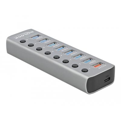 DeLOCK 7 x USB 3.2 Gen 1 Type-A, 1 x USB 3.2 Gen 1 Type-B, USB-C, PD 3.0, Grey Hub - Grijs