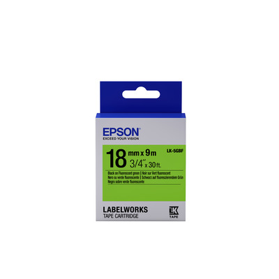 Epson Fluorescent Tape - LK-5GBF Fluor Blk/Green 18/9 Labelprinter tape