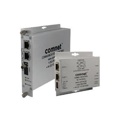 ComNet 2 Ch 10/100 Mbps Ethernet 1310nm, 30 W PoE+ Media converter