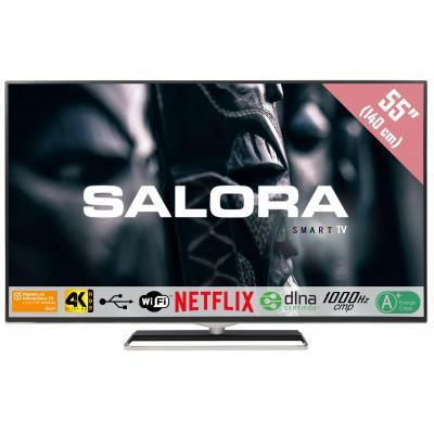 "Salora : Een 55"" (140CM) Ultra HD (4K) HDR SMART LED TV met Wifi, Netflix, DVB-T/T2/C (CI+), 1000Hz CMP en USB ....."