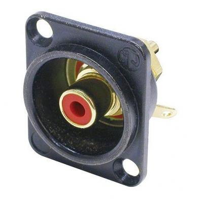 Neutrik kabel connector: Phono socket in black chrome D-shape housing - Zwart, Goud, Rood