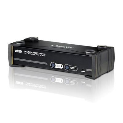 Aten 4 Port CAT5 Audio/ + 2xRS232 Video splitter - Zwart