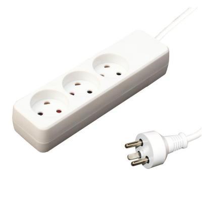Garbot Plast Power Strip 3-way K outlet, White, 3.0 m Power Cord, K plug Stekkerdoos - Wit